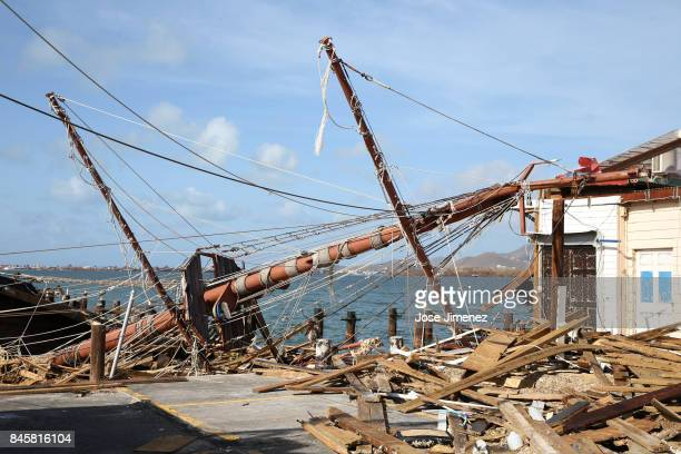 A ships mast rests on the dock on September 11 2017 in Philipsburg St Maarten The Caribbean island sustained extensive damage from Hurricane Irma