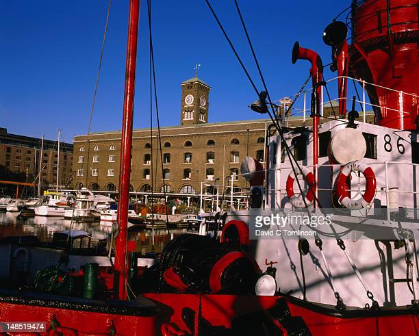 Ships moored at St Katharine's Dock on  River Thames.