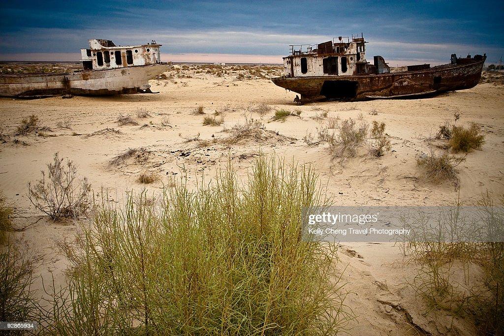 Ships of Aral Sea : Stock Photo