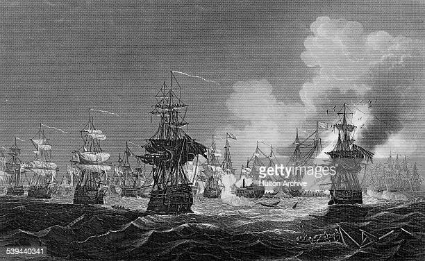 Ships of the British Royal Navy under the command of RearAdmiral Sir Horatio Nelson engages the French fleet of Vice Admiral FranvßoisPaul Brueys...