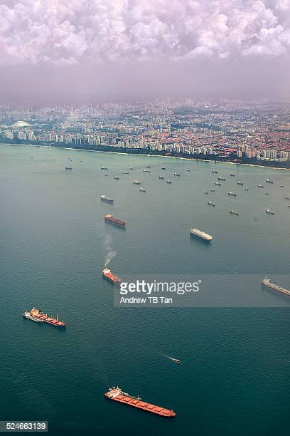 Ships off the eastern coast of Singapore