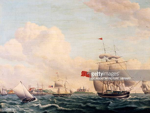 Ships sailing through the Oresund Strait between Sweden and Denmark with Kronborg Castle in the background painting by Jacob Petersen Denmark 19th...