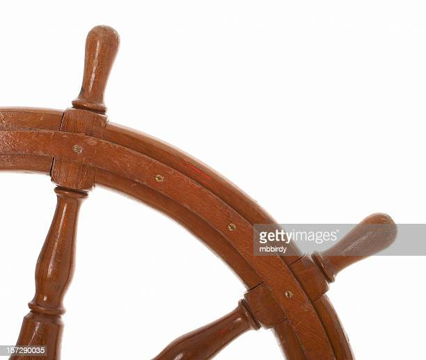 Ship's steering wheel (clipping path), isolated on white background
