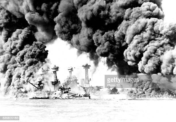 US ships 'Virginia' and 'Tennessee' on fire after the Pearl Harbor attack December 7 World War II Washington National archives