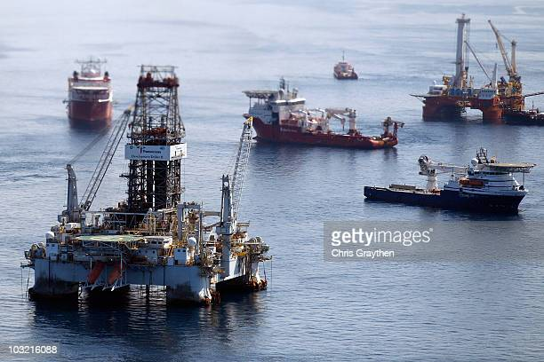 Ships work near the site of the BP Deepwater Horizon oil spill on August 3 2010 in the Gulf of Mexico off the coast of Louisiana BP is to begin...