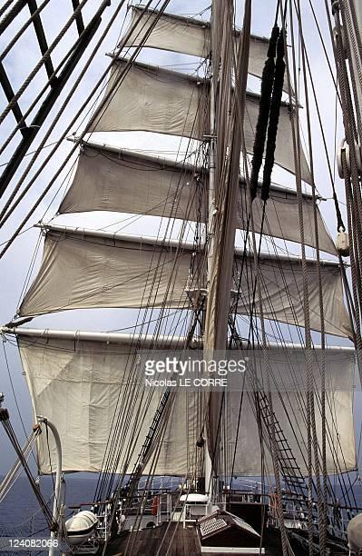 """Ship-school """"Belem"""" celebrates his 100th birthday In La Ciotat, France In April, 1996."""