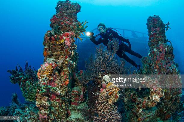 shipwreck as artificial reef. - ship wreck stock pictures, royalty-free photos & images