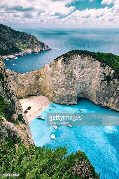 shipwreck beach of zakynthos - greece stock pictures, royalty-free photos & images