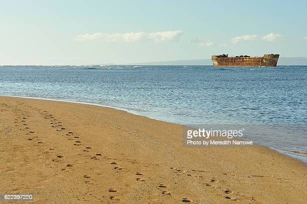 Shipwreck Beach with Footsteps in Sand, Lanai, Hawaii