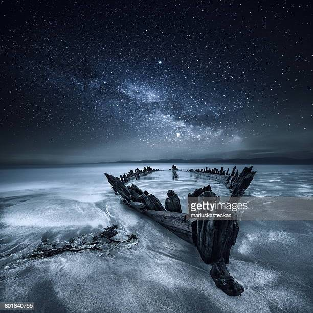 Shipwreck below the stars, Glenbeigh, County Kerry, Munster, Ireland