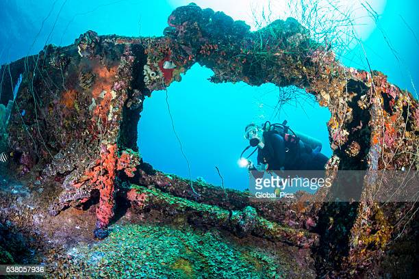 shipwreck dive - palau, micronesia - sunken stock pictures, royalty-free photos & images
