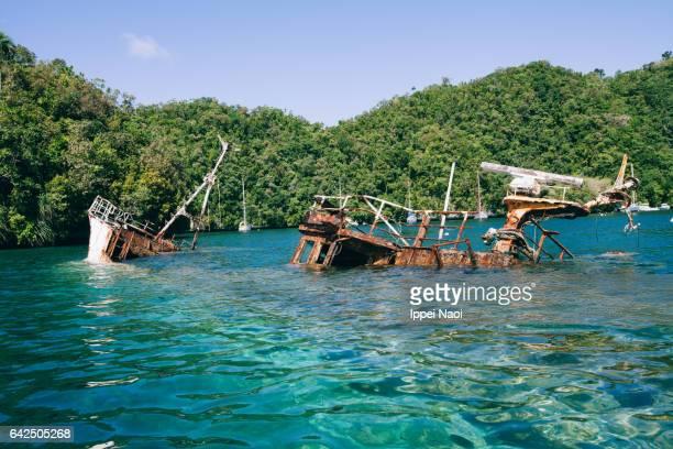 Shipwreck in shallow lagoon, Palau, Micronesia