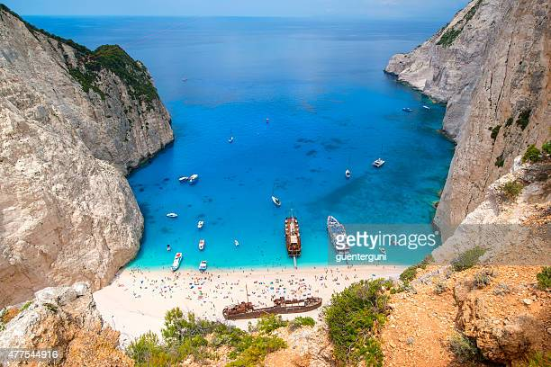 Shipwreck in the famous Navagio Bay, Zakynthos island, Greece