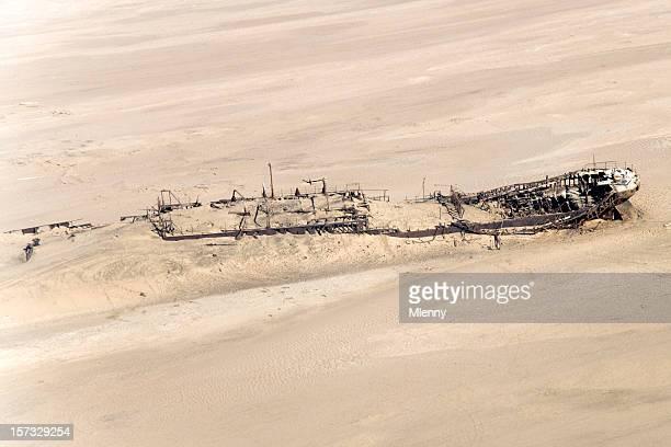 Shipwreck in the Namibian Desert Skeleton Coast (Aerial View)