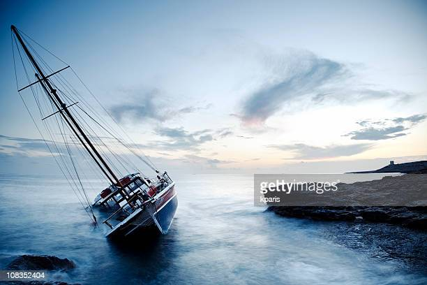 shipwreck off the coast of malta - sinking stock pictures, royalty-free photos & images