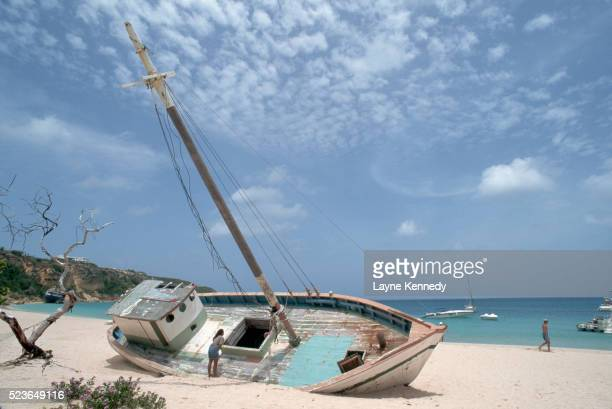 Shipwrecked Boat on Beach