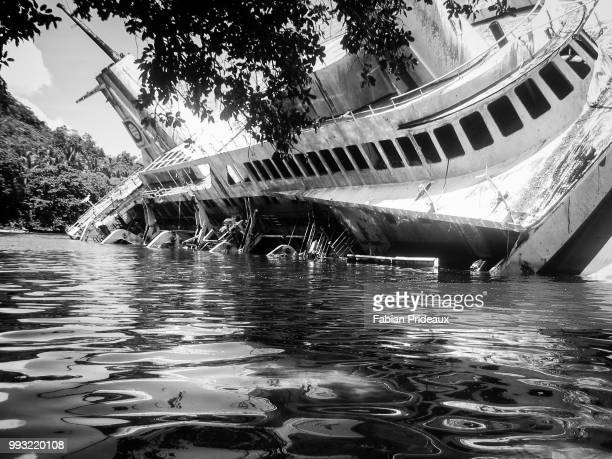 shipwrecked in the solomons - solomon islands stock pictures, royalty-free photos & images