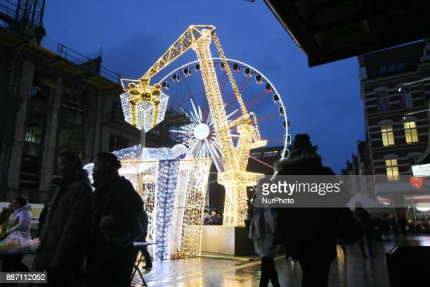 Shipyard crane with hanging gift box made with LED lights is seen in Gdansk Poland on 6 December 2017 City authoriteies spent over 280000 Euro for a...