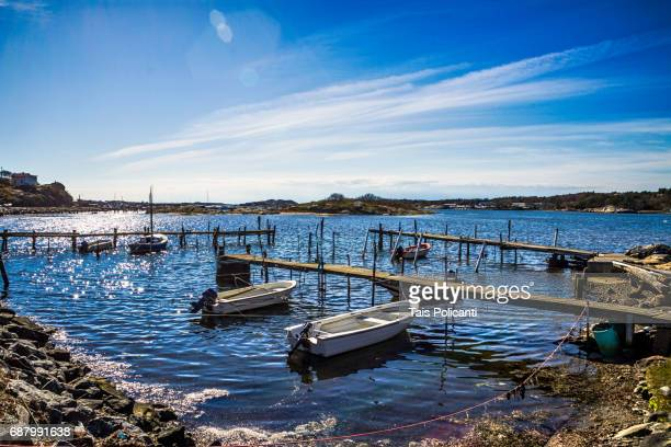 Shipyard in a sunny day at Natural reserve of Vrago in the archipelago of Gothenburg, Sweden, Scandinavia, Europe