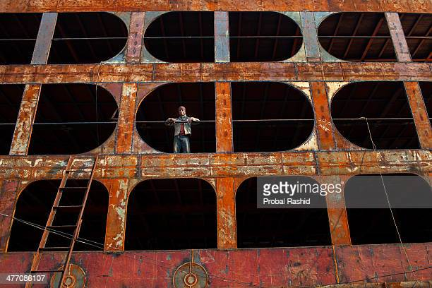 KERANIGANJ DHAKA BANGLADESH A shipyard worker in Dhaka There are more than 35 shipyards in Old Dhakas Keraniganj area by the side of the Buriganga...
