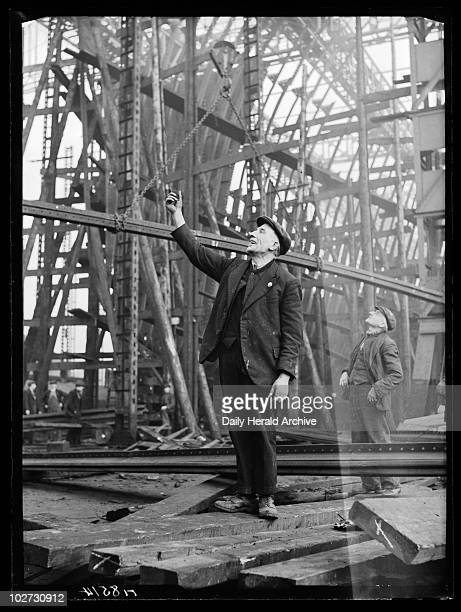 Shipyard workers 1940 A photograph of workers in the Swan Hunter Shipyard on Tyneside taken by Bishop Marshall for the Daily Herald newspaper on 8...