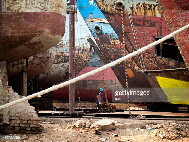 Shipyards on the banks of Buriganga river, Dhaka Bangladesh