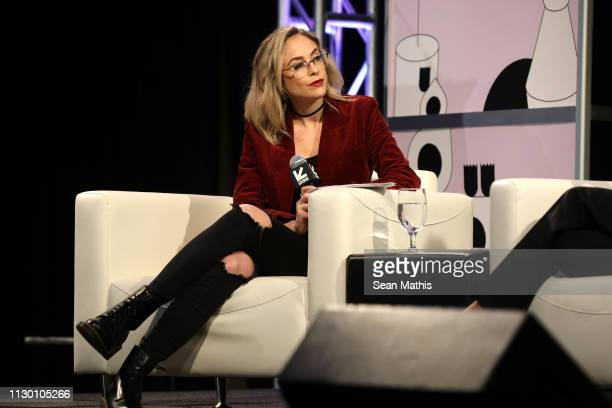 Shira Lazar speaks onstage at Featured Session: Changing the Narrative with Zoe Saldana during the 2019 SXSW Conference and Festivals at Austin...