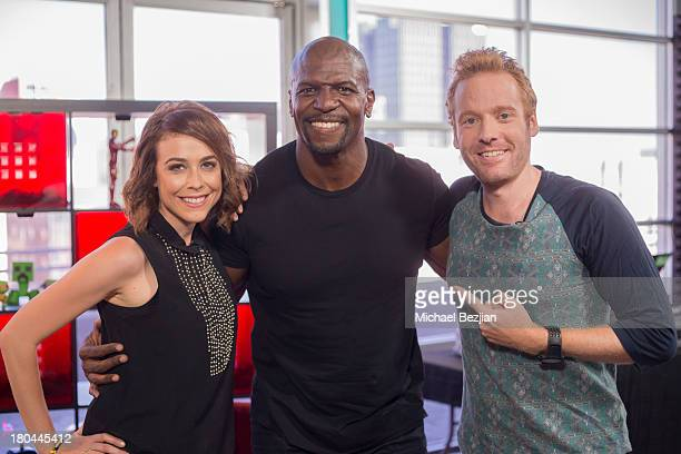 """Shira Lazar, Terry Crews and Ethan Newberry attend Sean Kingston and Terry Crews Visits """"What's Trending"""" on September 12, 2013 in Hollywood,..."""