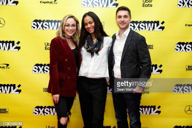 Shira Lazar, Zoe Saldana and Daniel Batista attend Featured Session: Changing the Narrative with Zoe Saldana during the 2019 SXSW Conference and...
