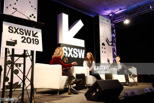 Shira Lazar, Zoe Saldana and Daniel Batista speak onstage at Featured Session: Changing the Narrative with Zoe Saldana during the 2019 SXSW...