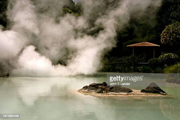 Shiraike Jigoku or white pond hell one of the hot springs at Beppu that are for viewing only the water is too hot for bathing