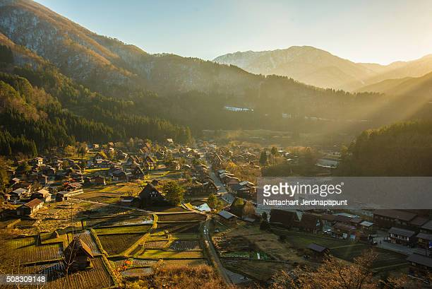Shirakawa Go (Shirakawa-go) Beautiful Panorama Aerial View of The Historic Village