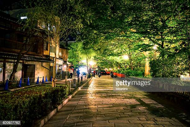 shirakawa minami dori street (白川南通) at night in kyoto (京都) japan - historical geopolitical location stock photos and pictures