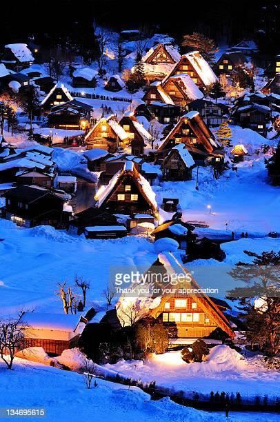 Shirakawa village in snow