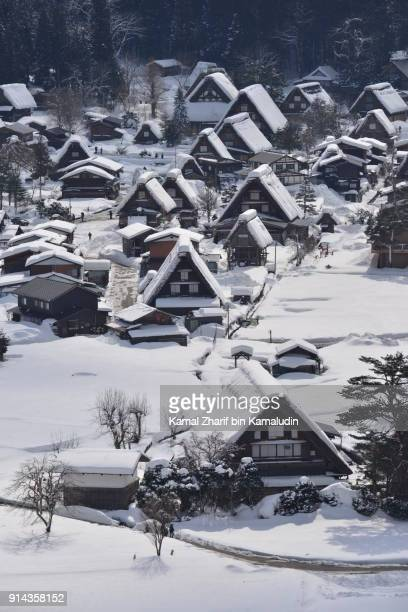 shirakawa-go aerial view - chilly bin stock photos and pictures