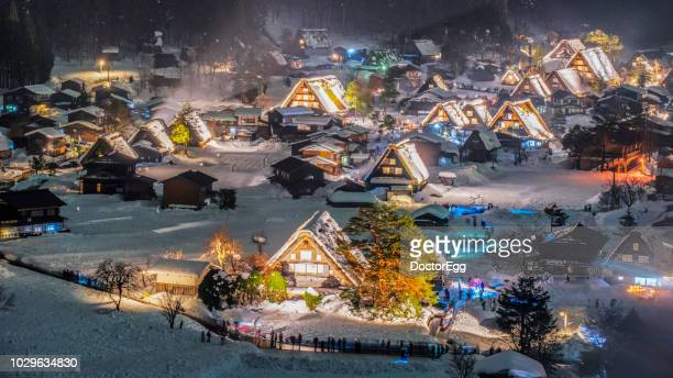 shirakawago light up illumination in winter, japan - takayama city stock pictures, royalty-free photos & images