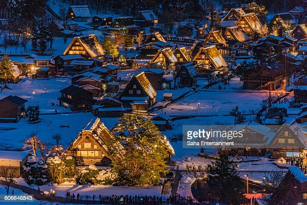 shirakawa-go light up snowing - takayama city stock pictures, royalty-free photos & images