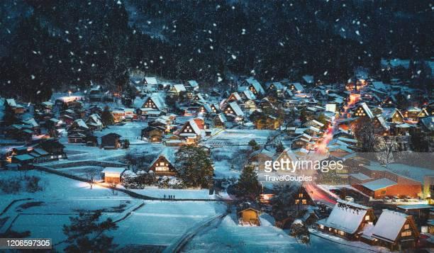 shirakawago light-up with snowfall gifu chubu japan - travel ストックフォトと画像
