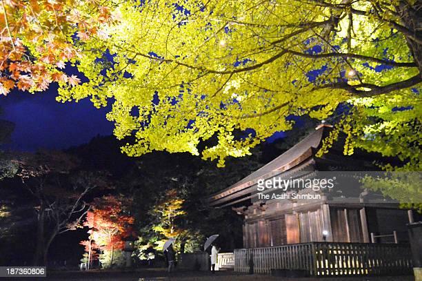 Shiramizu Amidado registered as a national treasure is illuminated during the test lighting on November 7 2013 in Iwaki Fukushima Japan The...