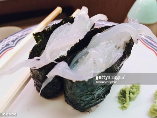 Shirasu (whitefish) gunkan sushi served in a restaurant in Japan