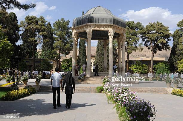 People at the Hafezieh the mausoleum of 14th century Persian mystic Diwan Hafez in Shiraz 20th May 2009