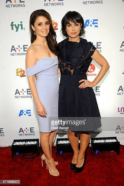 Shiri Appleby and Constance Zimmer attend the 2015 AE Networks Upfront on April 30 2015 in New York City