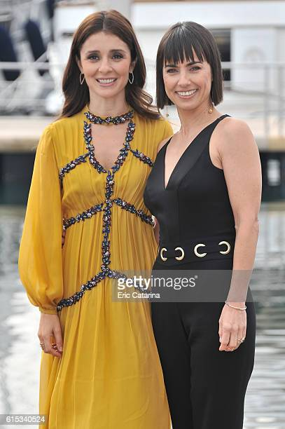 Shiri Appleby and Constance Zimmer attend the Unreal photocall during MIPCOM 2016 at Palais des Festivals on October 17 2016 in Cannes France