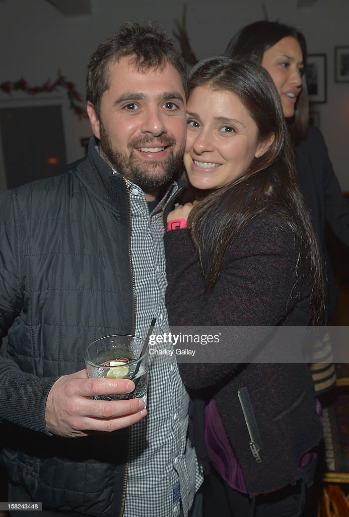 Shiri Appleby (R) and Jon Shook attend the I Heart Ronson Holiday Party at The Bungalow on December 11, 2012 in Santa Monica, California.