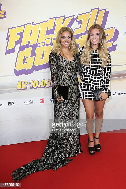 Shirin David and Dagi Bee during the world premiere of 'Fack ju Goehte 2' at Mathaeser Kino on September 7, 2015 in Munich, Germany.