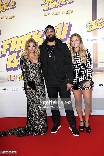 Shirin David Christos Manazidis Chris von Trash TV and Dagi Bee during the world premiere of 'Fack ju Goehte 2' at Mathaeser Kino on September 7 2015...