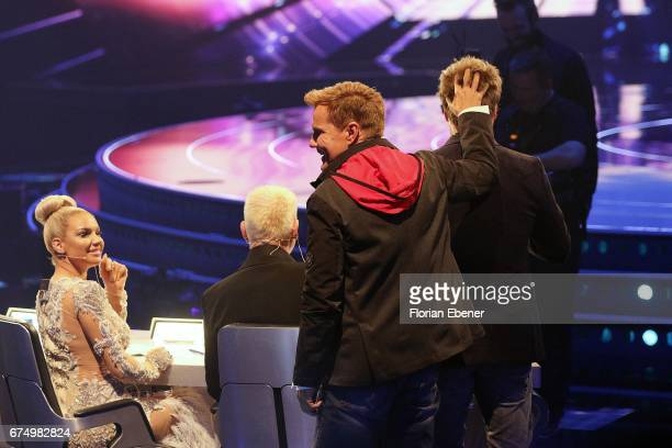 Shirin David Dieter Bohlen and Oliver Geissen during the fourth event show and semi finals of the tv competition 'Deutschland sucht den Superstar' at...