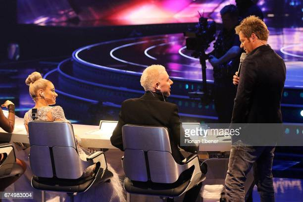 Shirin David HP Baxxter and Oliver Geissen during the fourth event show and semi finals of the tv competition 'Deutschland sucht den Superstar' at...