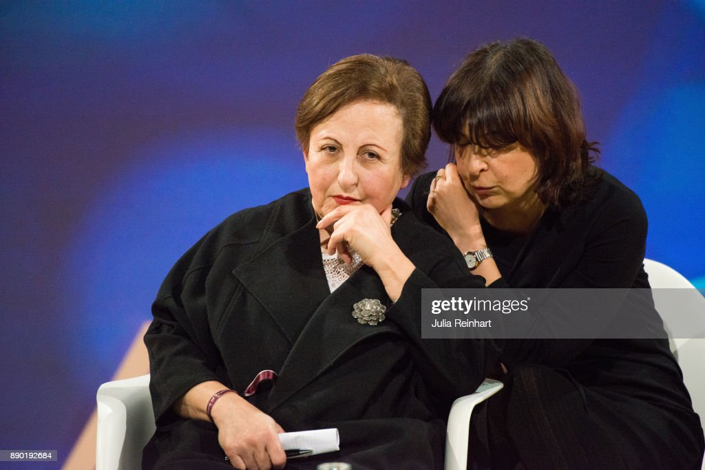 Shirin Ebadi, 2003 Nobel Peace Prize laureate, listens to her translator at 'Nobel Week Dialogue: the Future of Truth' conference at at Svenska Massan on December 9, 2017, in Gothenburg, Sweden.