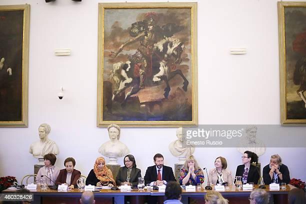 Shirin Ebadi Tawakkol Karman mayor Ignazio Marino Jody Williams and Mairead Maguire attend the 14th World Summit of Nobel Peace Laureates press...